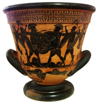 black figure attic calyx krater