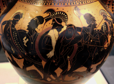 Attic Black-Figure Amphora ca. 510 BCE, depicting Aias carrying the mortally wounded Achilles out of the battlefield.