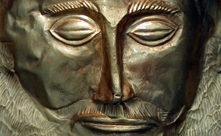 "Known as the ""Mask of Agamemnon,"" this exquisite funerary mask is made of gold, c. 16th century BCE. It was found in 1876 by Heinrich Schliemann in Tomb V at Mycenae, Greece. Currently on display in the National Archaeological Museum, Athens, Greece."
