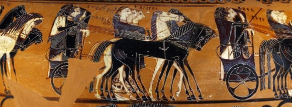 """Detail from the ancient Greek Black-Figure """"Sophilos Dinos"""" (wine-bowl), ca. 580-570 BCE depicting the arrival of guests to the wedding of Thetis and Peleus, the future parents of Achilles. The first chariot in the procession is carrying Zeus and Hera, and the second is carrying Poseidon and Amphitrite. Source: Wikimedia Commons"""