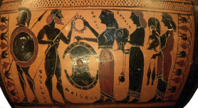 Detail of an Attic Black-figure Hydria, ca. 575-550 BCE, depicting Thetis delivering the new armor to Achilles. Source: Wikimedia Commons