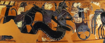 """Detail of the ancient Greek Black-Figure """"Sophilos Dinos"""" (wine-bowl), ca. 580-570 BCE depicting guests attending the wedding of Thetis and Peleus, future parents of Achilles. Athena and Artemis are seen riding in the chariot, followed by Thetis' grandfather, the fish-tailed sea-god Okeanos, his wife Tethys, and Eileithyia, goddess of childbirth. Hephaistos brings up the rear, seated side-saddle on a mule."""