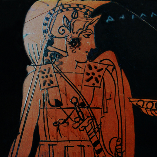 Achilles and the Nereid Kymothea depicted on an Attic red-figure kantharos, c 450-400 bce by the Eretria Painter. Currently at the Cabinet des Médailles