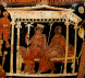 Detail View of an Apulian red-figure Volute Krater, ca. 320 BCE, attributed to the White Saccos Painter, depicting Hades and Persephone enthroned in the palace of the Underworld. Source: Wikimedia Commons