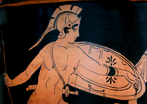 Detail View of Lucanian Red-Figure Bell-Krater, ca. 5th century BCE depicting the battle of Achilles and Penthesileia. Source: Wikimedia Commons