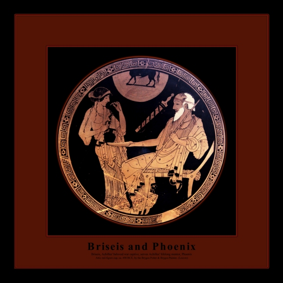 Attic red-figure cup by the Brygos Potter and the Brygos Painter, ca. 490 BCE, depicting Briseis, Achilles' beloved war captive, serving Phoenix, Achilles' lifelong mentor. Source: Wikimedia Commons