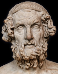 Marble bust of Homer. This is a 2nd - 1st c. BCE Roman copy from a lost Greek original. Please click on image for enlargement and more details