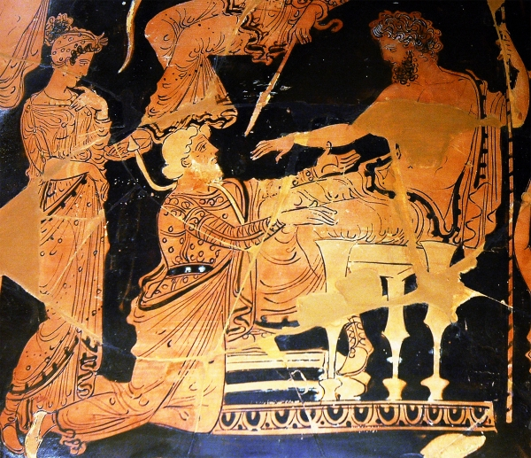Chryses attempting to ransom his daughter Chryseis from Agamemnon. Side A of an Apulian red-figure volute-crater, ca. 360-350 BCE,by the Painter of Athens 1714. Found in Taranto, now in the Louvre.
