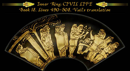 Inner Ring, Scene 1 of Achilles' Shield, from Homer's Iliad, Book XVIII, lines 490-495, Vail's translation