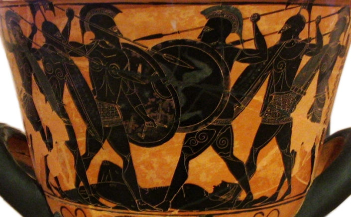 Detail of Attic Black-Figure Calyx Krater ca. 530 BCE depicting a battle over a corpse, probably that of Patroklos. Painted in the manner of Exekias. Found at Pharsalus, Phthia, Thessaly (ancestral homeland of Achilles). Source: Wikimedia Commons