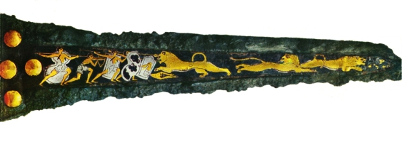 Late Bronze Age Mycenaean Bronze dagger, bronze with inlaid silver and gold depicting warriors hunting lions, ca. 16th century BCE. Source: Wikimedia Commons