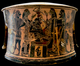 Attic Black-Figure Exaleiptron (tripod), ca. 570–560 BCE by the C Painter depicting the moment when Athena springs fully grown from the head of Zeus. Source: Wikimedia Commons