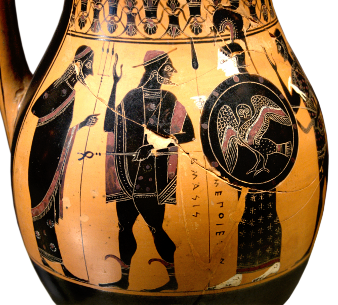 "Attic Black-Figure Olpe, ca. 540 BCE signed by the Amasis potter and attributed to Amasis painter. Depicting the entry of Herakles to Olympos, this view shows (from left to right) Poseidon, Hermes, Athena, and Herakles. The inscription reads (translated) ""Amasis made me."" Source: Wikimedia Commons"