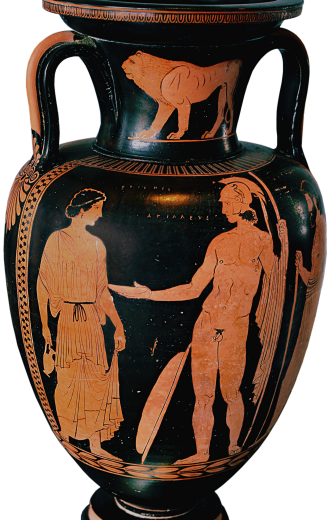 Apulian Red-Figure Amphora ca. 430-410 BCE depicting Achilles and Briseis. Source: Wikimedia Commons