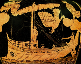 Detail from an Attic Red-Figure Stamnos, ca. 480-470 BCE depicting Odysseus and the Sirens. Source: Wikimedia Commons