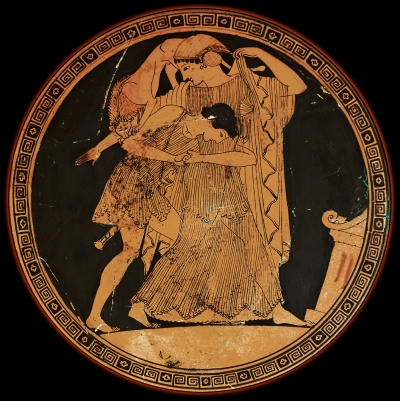 Peleus struggles to subjugate the sea nymph Thetis prior to their marriage in this depiction on an ancient Greek Attic red-figured kylix, painted by the Douris Painter, ca. 490 BCE. Photographed at the Cabinet des Medailles.