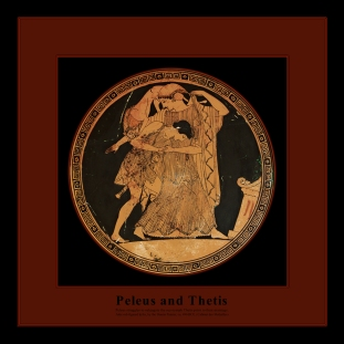 Attic red-figured kylix ca. 490 BCE by the Douris Painter, depicting the struggle of Peleus to subjugate the sea nymph Thetis prior to their marriage.