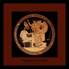 Attic red-figure Kylix ca. 490-480 BCE by the Foundry Painter depicting Hephaistos giving Achilles' new armor to Thetis.