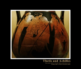 Ancient Greek Red-Figure Pelike ca. 470 BCE depicting Thetis consoling Achilles over the death of Patroklos. To the side can be seen Thetis' sister Nereids waiting to present Achilles with his new armor.