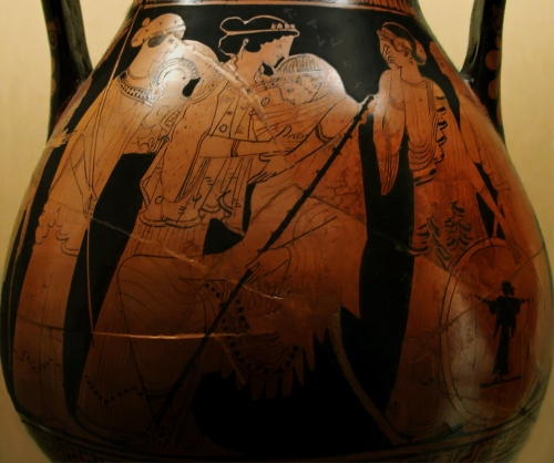 Ancient Greek red-figure Pelike ca. 470 BCE depicting Thetis consoling Achilles over the death of Patroklos. Source: Wikimedia Commons