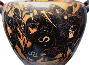Attic Black-Figure Hydria depicting Aias carrying the body of Achilles out of battle. Source: Wikimedia Commons