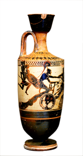 Attic White-ground Lekythos ca. 490 BCE by the Diosphos Painter depicting Achilles dragging Hektor's body behind his chariot. Notice also the winged 'spirit' of Patroklos flying alongside Achilles.