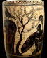 Attic black-figure white-ground lekythos, ca. 480 BCE by the Athena Painter depicting Achilles hiding in order to ambush Polyxena as she comes to the public water fountain. Source: Wikimedia Commons