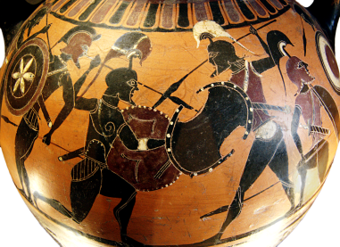 Attic Black-figure amphora ca. 570 BCE Depicting enemy warriors engaging in battle. Source: Wikimedia Commons