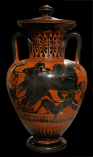 Attic Black-figure Amphora ca. 530 BCE, Depicting horses trampling a warrior in battle. Source: Wikimedia Commons