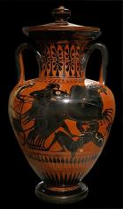 Attic Black-figure Amphora ca. 530 BCE, Depicting horses trampling a warrior in battle. Source: Wikimedia Commons