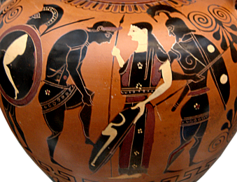 Detail of Side B from an Attic black-figure amphora, ca. 530 BCE painted in the manner of the Lysippides Painter depicting a young warrior arming with the assistance of a woman. Source: Wikimedia Commons
