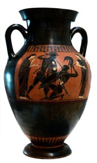 Attic Black-figure Amphora, ca. 585 BCE. Source: Wikimedia Commons