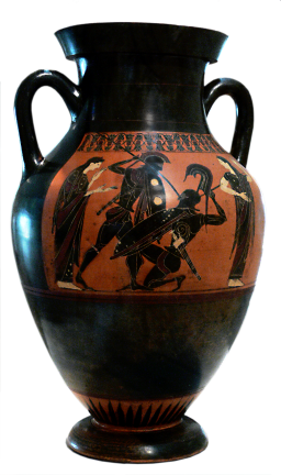 Attic Black-figure Amphora ca. 585 BCE by unidentified painter depicting two warriors in battle, possibly Achilles and Hektor, with the mother of each, Thetis and Hecuba in this case, to left and right of the warriors.