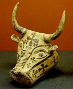 Mycenaean rhyton in the shape of a bull's head, ca. 1300–1200 BCE. Note the very straight horns, as described by Homer in Book 18, lines 573-588. Source: Wikimedia Commons