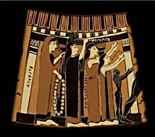 Detail from the Amphiaraos Krater ca. 570 BCE depicting women beside a columned porch waving goodbye to Amphiaraos. Source: Wikimedia Commons