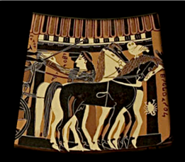 Detail from the Amphiaraos Krater ca. 570 BCE depicting horses and a woman beside a columned portico. Source: Wikimedia Commons