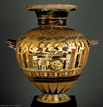Corinthian Black-Figure Hydria depicting Thetis and the Nereids Mourning Achilles' Death. (c) RMN. Now in The Louvre