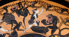 Detail view of a Attic black-figure kylix, ca. 510 BCE, depicting satyrs and maenads gathering grapes into baskets. Source: Wikimedia Commons