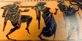 Detail from an Attic Black-Figure Stamnos ca. 500 BCE, depicting revelers dancing behind a man playing a lyre. Source: Wikimedia Commons