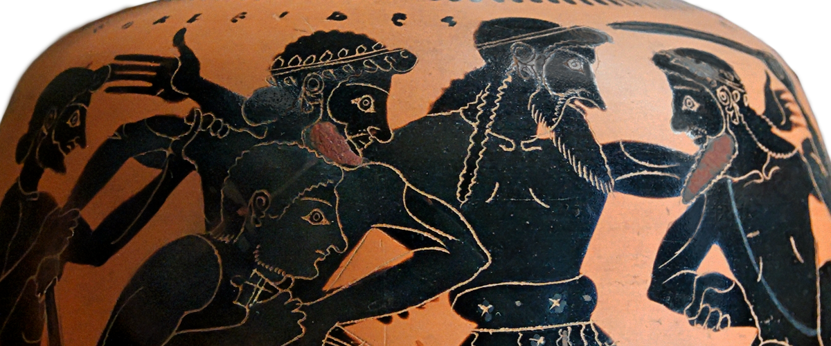 Detail view of an Attic Black-Figure Oinochoe, ca. 520 BCE Depicting Odysseus and Ajax quarreling over Achilles' armor. Source: Wikimedia Commons