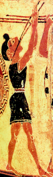 "Detail from the ""Chigi Vase,"" a ProtoCorinthian Olpe ca. 650-640 BC by the Chigi Painter depicting a youth playing an aulos. Source: Wikimedia Commons"