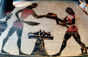 Corinthian Column-Krater, ca. 600 BCE depicting men preparing the hind legs of a sheep in preparation of a feast. Source: Wikimedia Commons