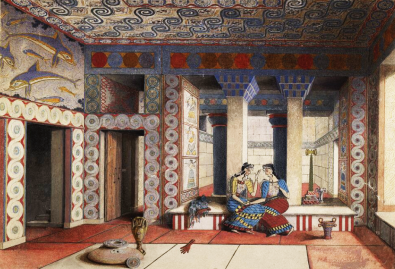 """A watercolor rendering of drawing of the """"Queen's Megaron"""" by Emile Gilliéron the younger, ca. 1922-1926, based on Sir Arthur Evans papers relating to his excavations at Knossos in Crete. Source: Wikimedia Commons"""