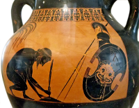 Attic Black-Figure Amphora depicting the suicide of Telamonian Aias (Ajax). Source: Wikimedia Commons