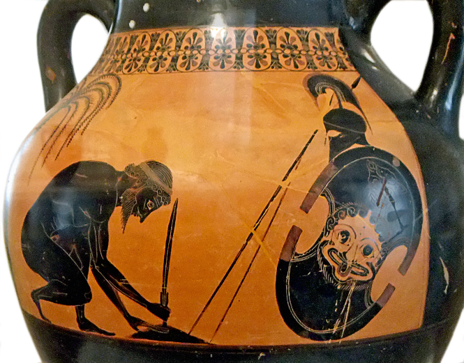 Attic Black-Figure Amphora ca. 530 BCE attributed to the painter Exekias, depicting the suicide of Telamonian Aias (Ajax). Source: Wikimedia Commons