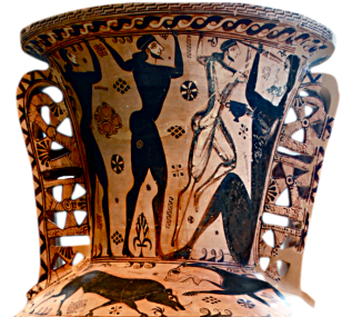 Proto-Attic Amphora depicting Odysseus and his men blinding the Cyclops. Source: Wikimedia Commons