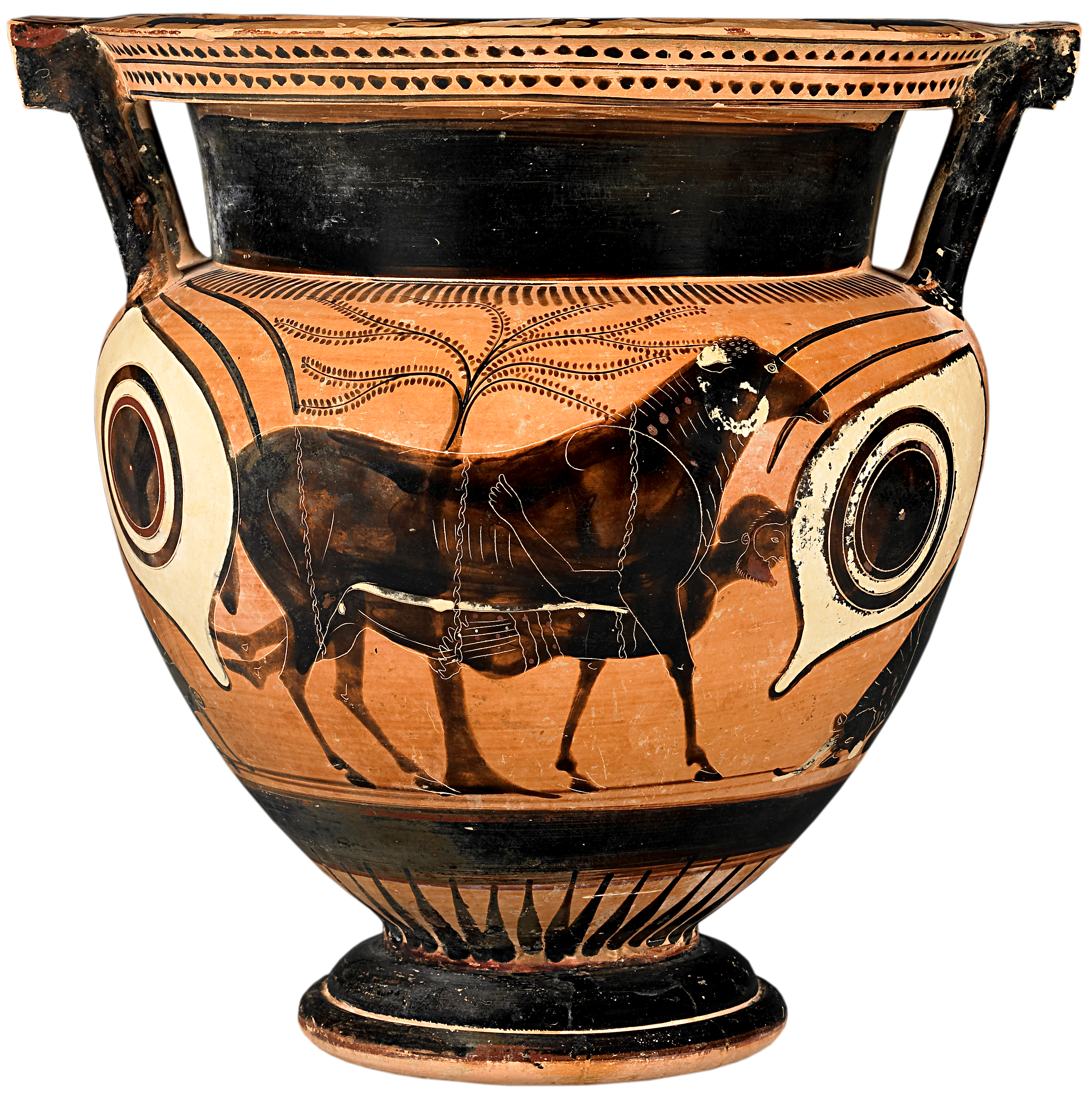 Scene references the shield of achilles attic black figure column krater depicting odysseus escaping underneath a ram source wikimedia reviewsmspy