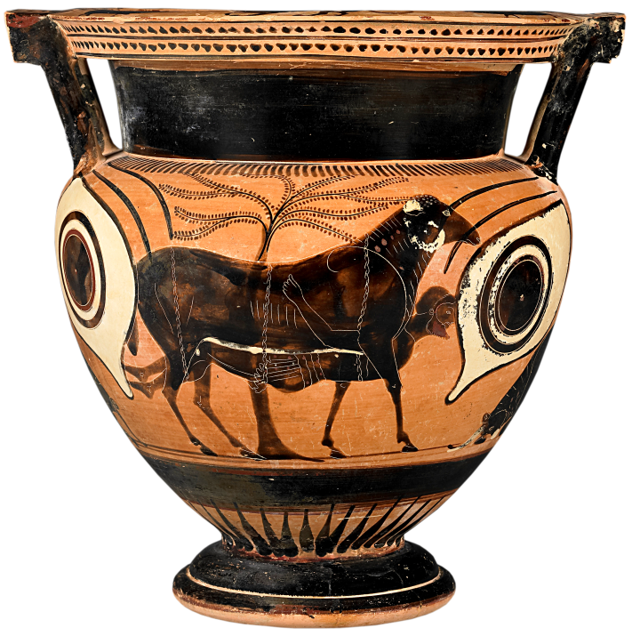 Attic Black-Figure Column Krater depicting Odysseus escaping underneath a ram. Source: Wikimedia Commons