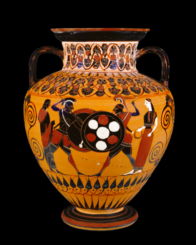 Dueling warriors depicted on an Attic Black-figure Neck Amphora, ca. 550 BCE. source: Wikimedia commons