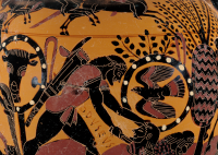 Chalkidian Black-Figure Neck Amphora ca. 540 BCE depicting Odysseus slaying Diomedes by the Inscription Painter (Chalcidian). Please note the tree in the background. Source: Wikimedia Commons